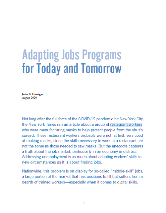 Adapting Jobs Programs for Today and Tomorrow