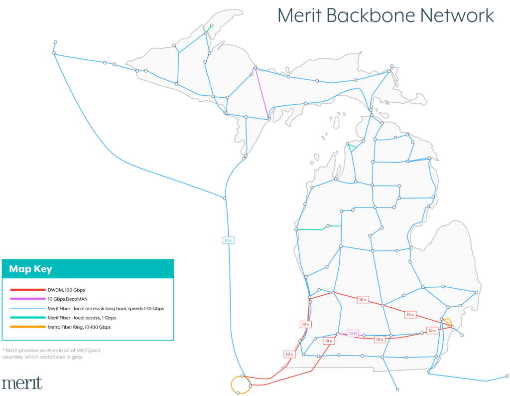 Merit backbone map