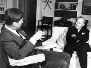 John F. Kennedy, President of the United States and Senator Benton in the oval office of the White House.