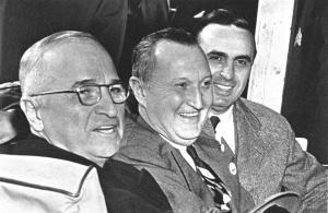 Campaigning with President Truman, Benton, and Congressman Abraham Ribicoff